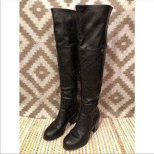 JustFab Black Block Heel Over The Knee Boots